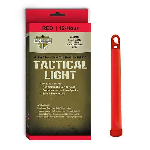 TAC SHIELD - Tactical Lightstick Red (10 Piece Box)