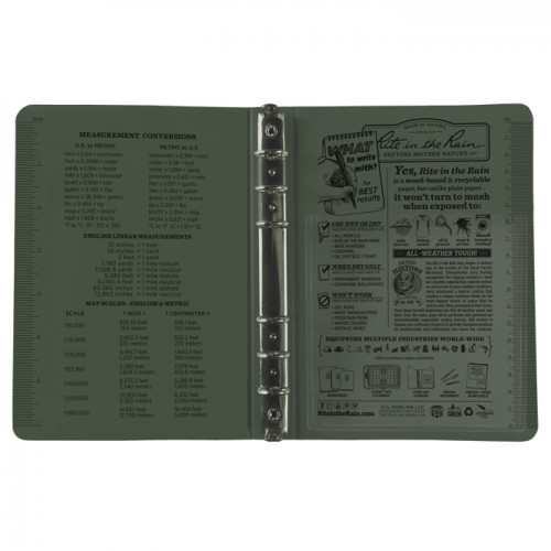 "Rite in The Rain - RING BINDER – 1/2"" Capacity Green"