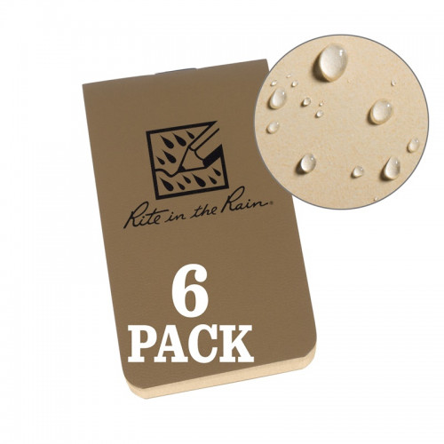 Rite in The Rain - ON-THE-GO NOTEBOOKS (6-PACK) Tan