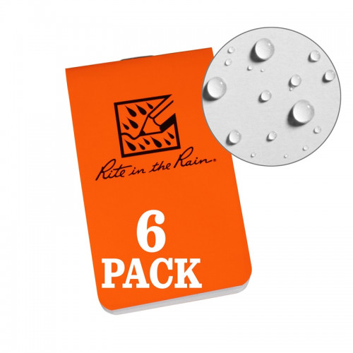 Rite in The Rain - ON-THE-GO NOTEBOOKS (6-PACK) Orange